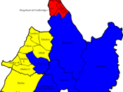 English: A map of the results of the 2007 Solihull Council election. Colour legend by wards won: Conservative party Liberal Democrats Labour party