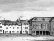 English: The first Marshalsea prison, sometime in the 18th century. The second Marshalsea was built in 1811.