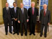 English: In January 2009, President of the United States of America, George W. Bush invited then President-Elect Barack Obama and former Presidents George H.W. Bush, Bill Clinton, and Jimmy Carter for a Meeting and Lunch at The White House. Photo taken in