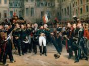 Napoleon's farewell to the Imperial Guard in the Cheval-Blanc (White Horse) courtyard of the Palace of Fontainebleau