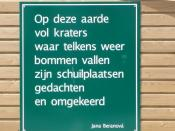 English: Poem (in Dutch) by Czech poet Jana Beranova at the site where a WO II bomb was found.(Proveniersstraat Rotterdam)