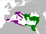 Map of the Byzantine Empire at its greatest extent in the 6th century. Territories in purple were reconquered during the reign of Justinian I.