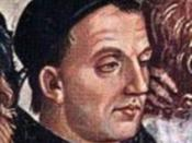 Posthumous portrait of Fra Angelico by Luca Signorelli, detail of Deeds of the Antichrist fresco (c.1501) in Orvieto Cathedral.