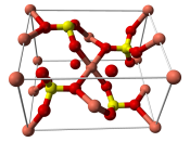 Ball-and-stick model of the unit cell of anhydrous copper(II) sulfate, CuSO 4