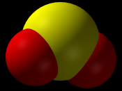 Space-filling model of the sulfur dioxide molecule, SO 2