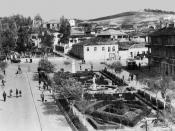 English: A picture of the center of Shijak in 1964 taken from the balcony of an apartment building.