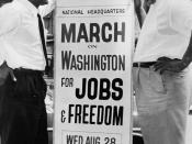 In front of 170 W 130 St., March on Washington, l to r, Bayard Rustin, Deputy Director, and Cleveland Robinson, Chairman of Administrative Committee / World Telegram & Sun photo by O. Fernandez.