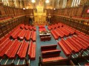 View of the House of Lords Chamber in the Palace of Westminster, London, looking from the galleries towards the Throne