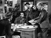 English: L. to R. : Walter Brennan, Gary Cooper, Irving Bacon, Barbara Stanwyck & James Gleason in Meet John Doe
