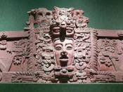 English: National Museum of Anthropology in Mexico City. Maya mask. Stucco frieze from Placeres, Campeche. Deutsch: National Museum of Anthropology in Mexico City. Maya-Maske.