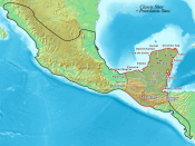 Map of the Maya area within the Mesoamerican region. Both Tikal and Calakmul lie near the centre of the area.