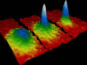 Velocity in a gas of rubidium as it is cooled: the starting material is on the left, and Bose–Einstein condensate is on the right.