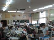 A teachers' room at Onizuka Middle School in Karatsu, Saga, Japan. In Japanese schools, classes of students usually stay in one place and teachers go around from room to room each period.