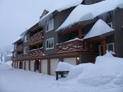 A row of vacation homes at Big White Ski Resort in Canada