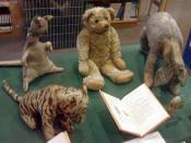 Original Winnie the Pooh stuffed toys. Clockwise from bottom left: Tigger, Kanga, Edward Bear (aka Winnie-the-Pooh), Eeyore, and Piglet.