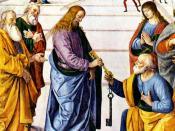 English: Christ Handing the Keys to St. Peter by Pietro Perugino (1481-82) Fresco, 335 x 550 cm Cappella Sistina, Vatican. Ελληνικά: Λεπτομέρεια από την νωπογραφία του Πιέτρο Περουτζίνο, Ο Χριστός Παραδίδει τα Κλειδιά στον Πέτρο, 335 x 600 cm, Καπέλα Σιξτ
