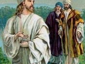 English: Jesus, followed by Simon Peter and Andrew