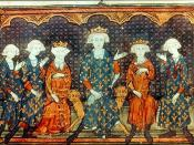 Isabella, third from left, with her father, Philip IV, her future French king brothers, and King Philip's brother Charles of Valois