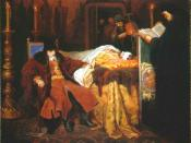 Ivan the Terrible meditating at the deathbed of his son by Vyacheslav Grigorievich Schwarz (1861)