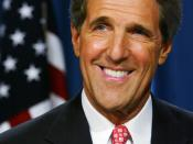 Headshot of John Kerry with the U.S. flag in the background.