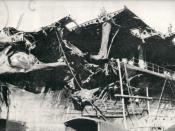 Damage to the Imperial Japanese Navy aircraft carrier Shokaku sustained on May 8, 1942 during the Battle of the Coral Sea.