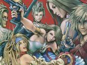 Characters of Final Fantasy X-2 as shown from left to right: Nooj, Rikku, Paine, Yuna, Lenne and Shuyin.