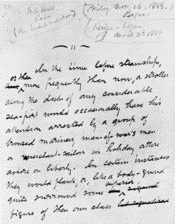 English: Opening leaf of the Billy Budd manuscript with pencil notations