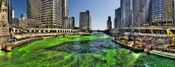 English: Chicago river dyed green on St. Patrick's Day, looking east from Michigan Avenue bridge.