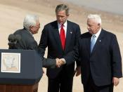 Bush, Mahmoud Abbas, and Ariel Sharon meet at the Red Sea Summit in Aqaba, Jordan, June 4, 2003.