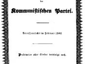 Cover of the Communist Manifesto's initial publication in February 1848 in London.