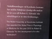 2010 Nobel Prize in Medicine -  development of the in vitro fertilization procedure