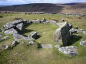 A hut circle at Grimspound (a late Bronze Age settlement) on Dartmoor.