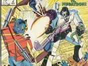 Autobot leader Optimus Prime battles Decepticon leader Megatron. From issue #2 of The Transformers comic series published by Marvel Comics.