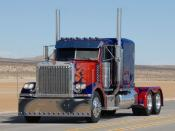 Cropped image of shooting for Transformers with the vehicle for Optimus Prime.