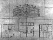 English: Architectural drawings for the Bank of British North America at Yonge and Wellington Streets, Toronto, Canada.