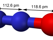 Ball-and-stick model of nitrous oxide, N 2 O, with interatomic distances labelled