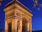 The Arc de Triomphe (Arch of Triumph), at the center of the place Charles de Gaulle, Paris.