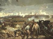 The Battle of Vimy Ridge, colour photomechanical print on light card after a painting by Richard Jack (1866 - 1952).http://www.legionmagazine.com/features/warart/98-09.asp Comment : The men are loading a QF 4.5 inch howitzer.