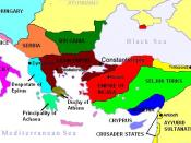 English: The Partition of the Byzantine Empire after 1215 Français : L'empire byzantin après la quatrième croisade