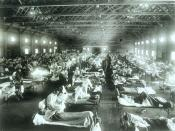 English: Historical photo of the 1918 Spanish influenza ward at Camp Funston, Kansas, showing the many patients ill with the flu (: Original source description)