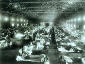 English: The Spanish Influenza. Emergency military hospital during influenza epidemic, Camp Funston, Kansas, United States. Deutsch: Die Spanische Grippe. Militärnotfallkrankenhaus während der Spanischen Grippe in Kansas.