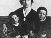Portrait of Elizabeth Cady Stanton with her sons Daniel and He