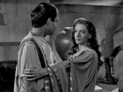 Cropped screenshot of Portia (Deborah Kerr) and Brutus (James Mason) from the film Julius Caesar