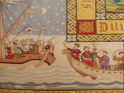 English: Battle of Lepanto, part of a 19th-century carpet in museum Kijk-je kerk-kunst, Gennep, Netherlands Nederlands: Slag_bij_Lepanto op een tapijt in museum Kijk-je kerk-kunst, Gennep