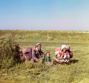 Nomadic Kyrgyz family on the Golodnaya Steppe in Uzbekistan