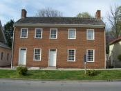 Governor's Headquarters in Corydon, Indiana. Built by Davis Floyd c 1816, purchased by Indiana c 1820. Inhabited by William Hendricks c 1820-1824. Sold by the state c 1840. This was Indiana's first