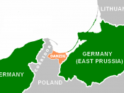 English: Interwar Danzig corridor, created in the post-WW1 settlement so that Poland would not be landlocked or completely dependent on German ports