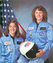 English: Christa McAuliffe and Barbara Morgan, Teacher in space primary and backup crew members for Shuttle Mission STS-51L. This mission ended in failure when the Challenger orbiter exploded 73 seconds after launch on January 28, 1986.