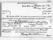 certificate of the first homestead according to the homestead act. given to Daniel Freeman in Beatrice, Nebraska 1963