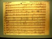 A facsimile sheet of music from the Dies Irae movement of the